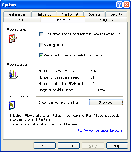 SpartacusFilter Options Dialog